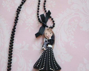 BLACK FRENCH DOLL necklace, doll necklace with a pink dress, little girl pendant, Girl teen gift, metal necklace, cute, funny jewelry