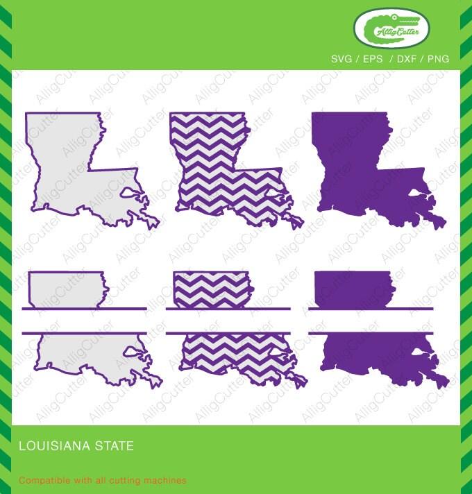 Louisiana State Pattern Split Monogram Frame SVG DXF PNG ...
