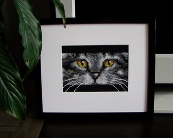 Cat - handmade picture embroidered with beads, Beadwork, Embroidered picture, Home décor, Wall décor, Nursery decor
