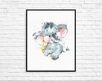 Elephant Art Print, Elephant Nursery Art, Watercolor Elephant, Kids Room Decor, Mothers Day Gift, Baby Elephant Print