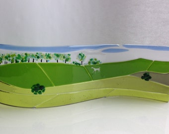 Fused Glass Landscape of Wiltshire White Horse