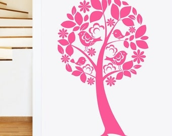 Tree with Birds and Flowers Wall Sticker - Girls Childrens Art Decal Vinyl Transfer - by Rubybloom Designs