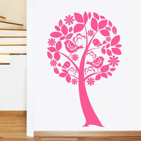 Wall Art Flowers And Birds : Tree with birds and flowers wall sticker girls childrens art