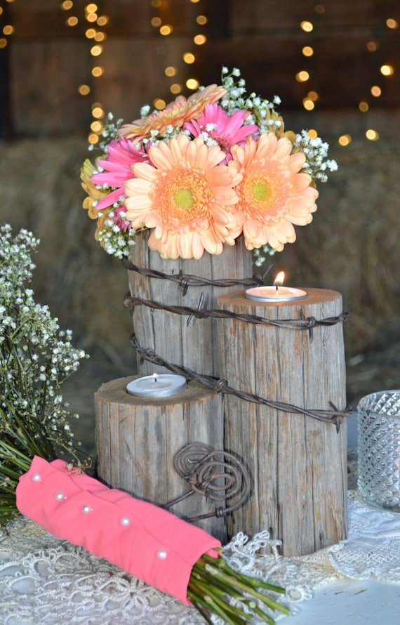 Items similar to rustic country western wedding tealight