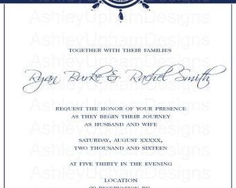 Nautical Wedding Invitation Set - Stripes