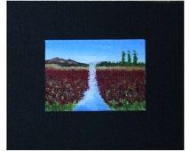 Miniature Poppy Fields Painting - Original Miniature Art - Original Poppy Fields Painting - Dolls House Miniature Painting