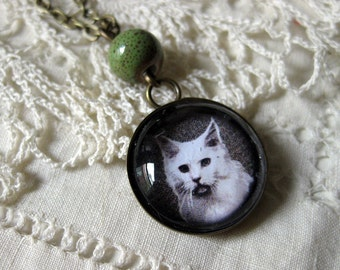 Long Haired White cat pendant necklace