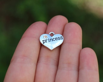 1 piece Stamped Heart, Princess Heart Charm, Heart Charm with Rhinestone, Princess Charm , daughter gift diy K00053H