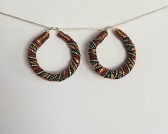 Textured fabric hoop earrings
