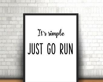 Running inspiration poster Runner gift Marathon running Quotes run poster Running art Runner poster Gift for runner Exercise art print