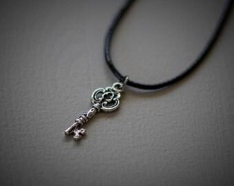 Tibetan Silver Key Charm Necklace