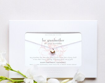 Grandmother  | Sterling Silver Gold Filled Two Hearts Heart Necklace Poem Message Card Jewelry Happy Birthday Grandma Greeting Card Gift