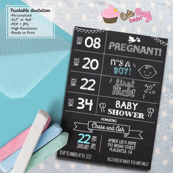 baby shower timeline invitations chalkboard diy printable couples baby