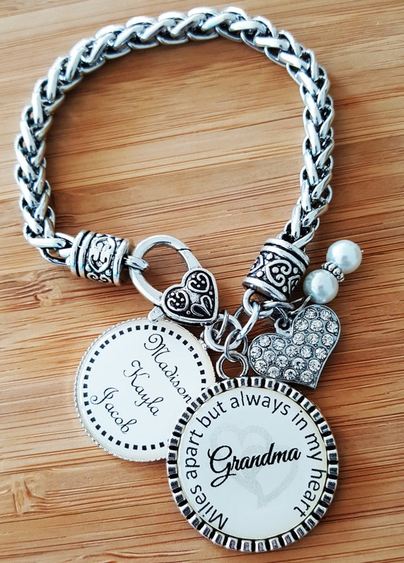 Grandma Bracelet Gifts for Grandma Grandma Gift Grandma Jewelry Gift from Grandkids Personalized Grandma Gifts Miles Apart Always in Heart