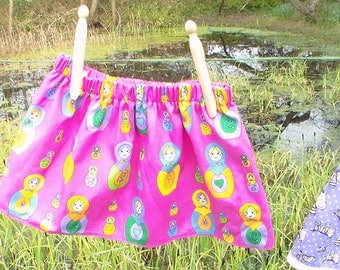 little dollies, baby clothing, girls clothes, babies clothes, girls, skirt, cotton print, baby gifts, dresses, gathered,colourful dollies.