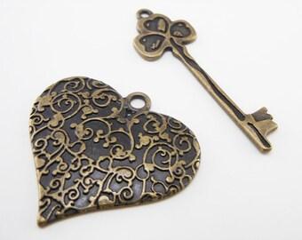 Key and Heart Metal Pendant/Charm Set