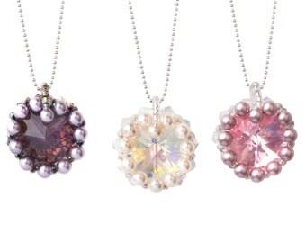 Jewellery Craft Making Kit / The Kleshna SWAROVSKI crystal 18mm Heart Pearl & Crystal Bezel Kit
