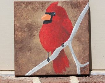 Cardinal on Brown: Original Acrylic Painting on Stretched Canvas, 8x8 inches