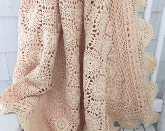 Vintage Baby Girl Crochet Blanket-White Crochet Blanket-Girl's Blanket-Crib Blanket-Stroller Blanket- Nap Blanket-Lightweight Pink Blanket