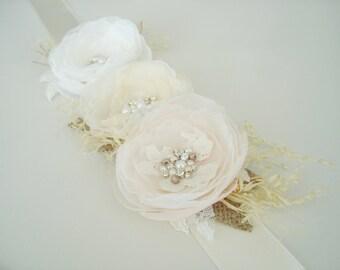 SALE Rustic  Sash, Blush  Bridal Sash, Rustic Wedding Sash, Floral Bridal Sash, Ivory Champagne Bridal Sashes Belts, Burlap Pearl Crystal