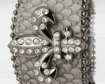 Genuine Leather Grey Fleur de Lis Bracelet