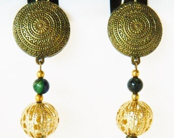 """Vintage Long Dangle Statement Earrings Clip On Green Glass Gold Tone Beads Boho Chic 4.5"""""""