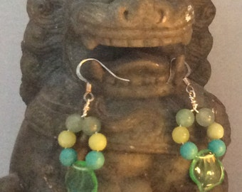 Leaf and blue green earrings