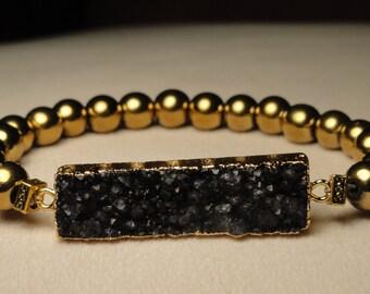 Gold Hematite Black Crystal Bracelet