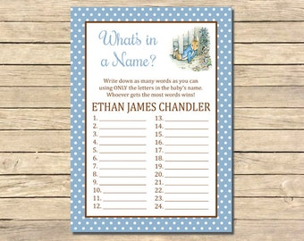 Peter Rabbit What's in a Name Printable Game, Beatrix Potter Personalized Game, Peter Rabbit Shower Game, Printable, DIY, Download, 014-A