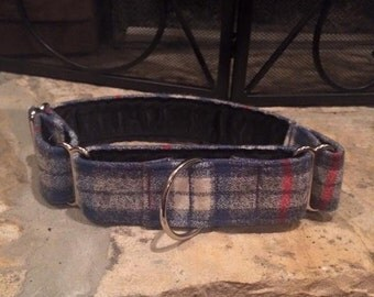 MADE TO ORDER- Blue plaid Flannel Dog Collar, Choose width- Buckle or Martingale- add Embroidery and/or Leash