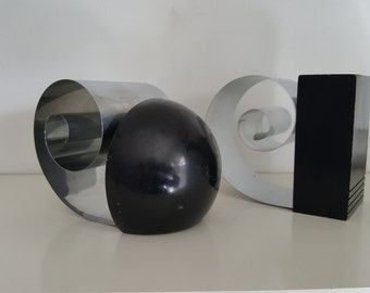 Pair of 1930s - Machine Age - Art Deco - Coil Bookends - Designed by Fred Farr for Revere, New York