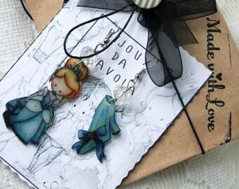 CINDERELLA Earrings, Cenerentola orecchini, orecchini favole, Bijoux da Favola, Fable Jewellery, Fairy