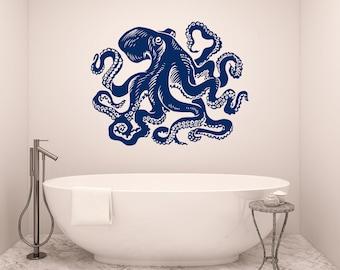 Incroyable Octopus Wall Decal Tentacles Vinyl Sticker Decals Kraken Octopus Fish Deep  Sea Scuba Ocean Animals Bathroom