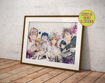 Shokugeki no Soma Anime, Food Wars, Anime Wall Art, Anime Watercolor Poster, Anime, Anime Poster, Anime Prints, OC-853