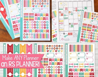RS PLANNER Sticker Kit, Made 2 Match my 2016 Relief Society Presidency Planner, LDS Stickers - 3 Sheets, 178 Stickers!