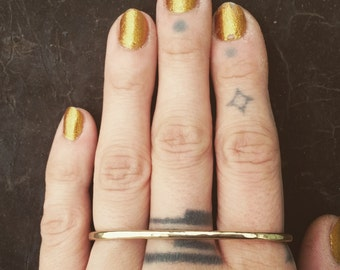 Three Finger Ring Brass Knuckles Simple Layer Ring Statement Bar Ring Boho Ring Brass Ring One size fits all ring Brass Bar Ring Big Bar