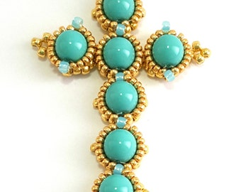 Cross pendant with pearls 6 mm