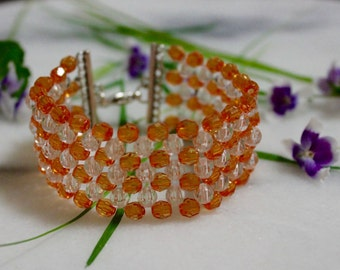 Alannah - Woven Bracelet - Tangerine Orange & Crystal Clear Patchwork Beaded Cuff Bracelet - Jewellery By W