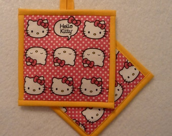Hello Kitty Pot Holder, Hello Kitty Hot Pad, Hello Kitty Mug Rug, Hello Kitty Potholder