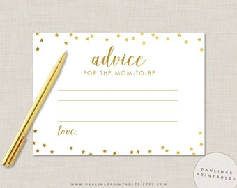 Gold Stars Advice for Mom-To-Be Cards - Printable Baby Shower Game, Advice Cards, Gold Foil, Advice for mommy to be, Gold Baby Shower