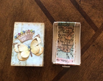 Yellow Butterfly with Crown Altered Collage Matchbox with Drawer