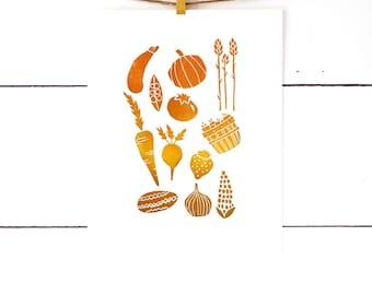 Kitchen Gift, Vegetable Print, Gifts Under 30, Kitchen Art, Hostess Gift, Linocut, Vegetable Art, Lino Print, Block Print Art, Gift For Chef
