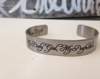 Custom - Personalized Bracelet - Cuff Bracelet - Engraved Bracelet - Custom - Stainless Steel - Silver - Personalized