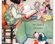 Vintage Childrens Illustration, Girl reading to her toys, 1930s, childrens book picture, Digital Print, Instant Digital Download