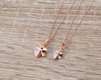 10/14mm Rose Gold Necklace, Romantic Gift for Her, Rose Gold Pendant, Love Pendant, Swarovski Crystal Heart, Bridesmaid Jewelry, Anniversary