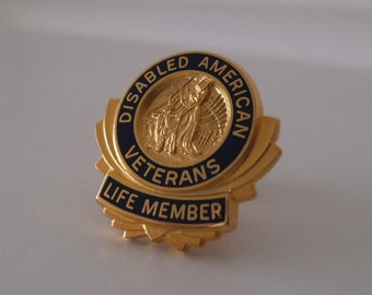 Disabled American Veterans Life Member Vintage Pin With Pinch