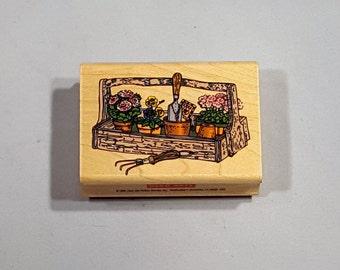 "1996 Hero Arts E1021 Gardeners Caddy Wood Stamp 2.75"" x 1.75"""