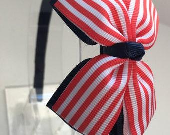 Headband,Navy Blue,White,Red Headband, Girls Christmas Headband, Toddler Headband, Red Bow Headband for Little Girls,Red Hair Bow