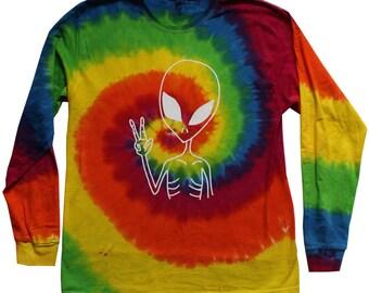 Peace Alien Long Sleeve Tie Dye T Shirt