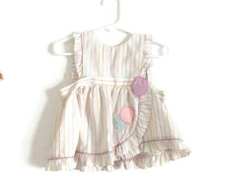 Vintage Baby Dress - 80s Vintage Pastel Baby Girl Dress - Size 12 Months Dress - Cute Vintage Balloon Baby Dress